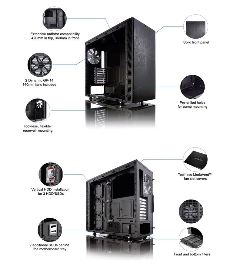Fractal Design Define S Computer Case Mid tower no PS with ... - photo#32