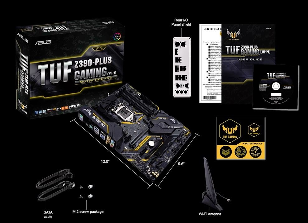ASUS Motherboard TUF Z390-Plus Gaming Wi-Fi LGA1151 DDR4 HDMI DisplayPort  M 2 Z390 ATX Retail
