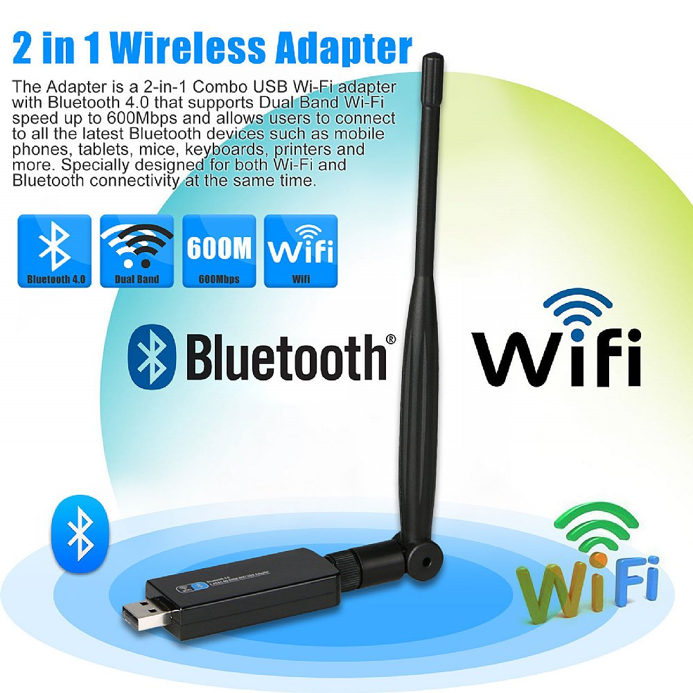 2in1 bluetooth 40 wireless usb wifi network adapter 600mbps dual 2in1 bluetooth 40 wireless usb wifi network adapter 600mbps dual band wantenna keyboard keysfo Images